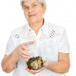 Senior woman hands holding jar with coins — Stock Photo