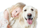 Golden Retriever and girl. — Stock Photo