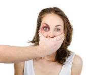 Fear of woman victim of domestic violence and abuse. — Stock Photo