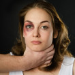 Domestic violence woman being abused and strangled by strong man — Stock Photo #24301141
