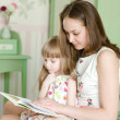 Mother with the daughter read the book — Stock Photo #24675259