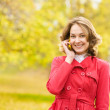 Young woman talking on cell phone in the autumn park — Stock Photo #24675435