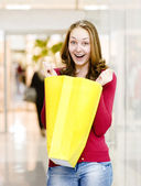 Happy Woman with Shopping Bags in Shopping Mall — Stok fotoğraf