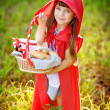 "Girl in the wood with a basket in hands. the fairy tale ""Red Riding Hood"" — Stock Photo"