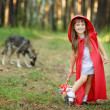 """Wolf pursues the girl. the fairy tale """" Red Riding Hood"""" — Stock Photo"""
