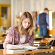 Stock Photo: Female student with laptop working in library