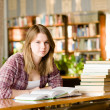 Girl with books at the library. looking at camera — Stock Photo