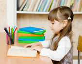 Young schoolgirl reading a book — Stock Photo