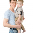 Portrait of a happy father with his little son. isolated on white — Stock Photo