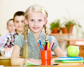 Portrait of lovely schoolgirl in classroom. — Stock Photo