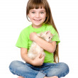 Little  girl hugging kitten. isolated on white background — Stock Photo