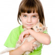 Little girl and a kitten in front. isolated on white background — Stock Photo