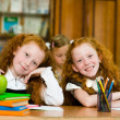 Portrait of lovely twins girls with schoolgirl  — Stock Photo