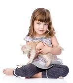Menina e um gatinho em frente. — Foto Stock