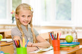 Portrait of lovely schoolgirl in classroom. — Stock Photo