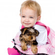 Girl and puppy. looking at camera. isolated on white background — Stock Photo