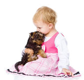 Girl hug a little Yorkshire Terrier puppy. isolated on white background — Stock Photo