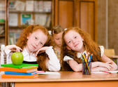 Portrait of lovely twins girls with schoolboys on background — Stock Photo