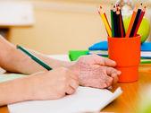 Write off exam in school — Stock Photo