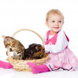 Little girl with a cat and a dog.  — Stock Photo