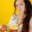 Woman holds  fruit and vegetables — Stock Photo