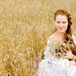 Young woman in field with wheat — Stok fotoğraf