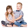 Smiling brother and little sister hugging. — Stock Photo #35106673
