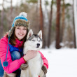 Woman with her pet dog — Stockfoto