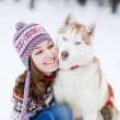 Woman with her pet dog — Stock Photo