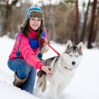 Girl with her cute dog — Stock Photo