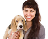 Woman and beagle puppy. — Stock Photo