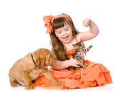Girl with a cat and a dog. — Stock Photo