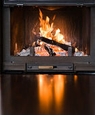 Burning Fireplace — Stock Photo
