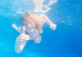 Portrait of a cute little girl swimming underwater — Stock Photo
