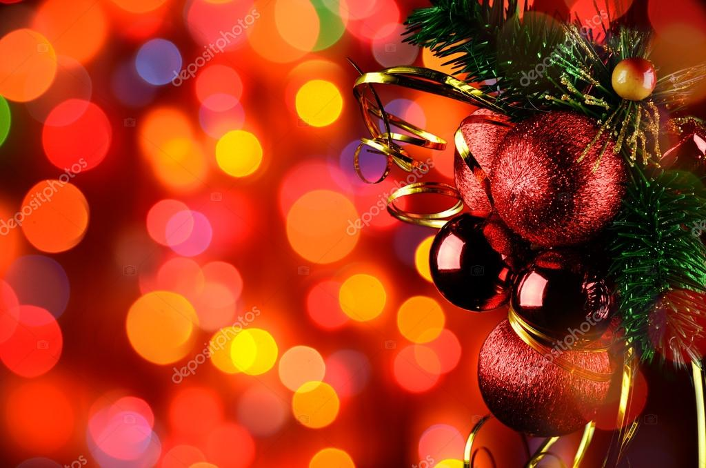 Christmas background with red baubles, ribbons and lights  Stock Photo #16262129
