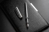 Card holder, fountain pen — Stock Photo