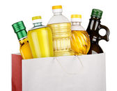 Zak van olie flessen — Stockfoto