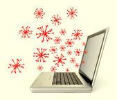 Ciber vírus em um laptop isolado no branco — Foto Stock