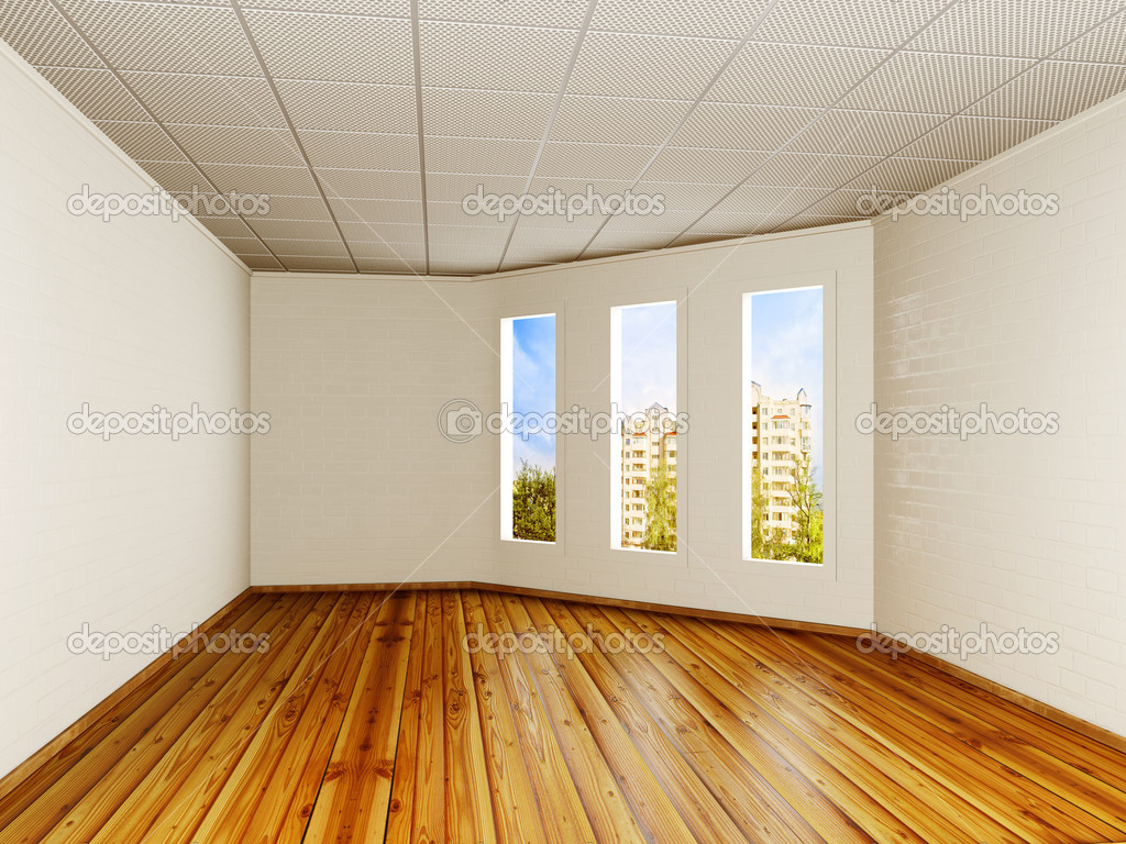 Empty room with a white walls and three windows — Stock Photo #13752524