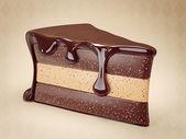 Sabroso pastel de chocolate sobre un fondo claro — Foto de Stock