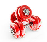 Red dumbbells — Stock Photo