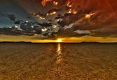 Dry Lake Sunset HDR — Stock Photo