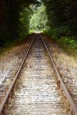 Raka järnvägsspåren — Stockfoto
