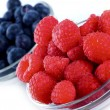 Raspberries Blueberries — Stock Photo