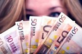 Woman with Euros — Stock Photo