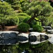 Japanese Garden with Pond - Stock Photo