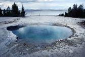 Geyser Basin and the Lake — Stock Photo