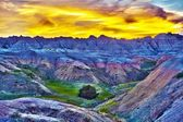 HDR Sunset in The Badlands — Stock Photo