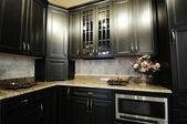 Dark Kitchen Cabinets — Stock Photo
