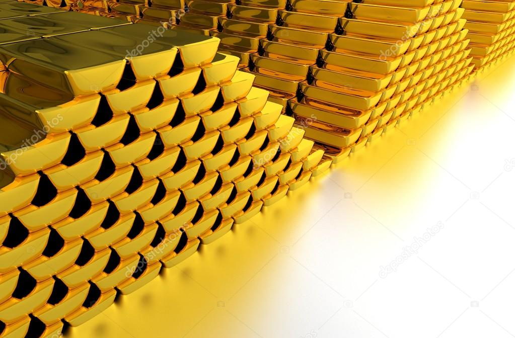 Piles of Gold Bars on Glassy Silver Floor. Great Copy Space. Gold Investing Theme. 3D Rendered Illustration. — Stock Photo #17666869